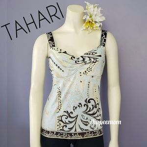 Tahari Sleeveless Blouse Multi Colored